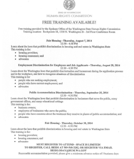 Free Training from Washington State Human Rights Commission
