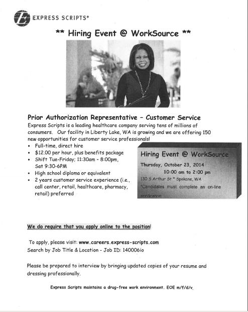 Hiring Event at WorkSource   InfoLink
