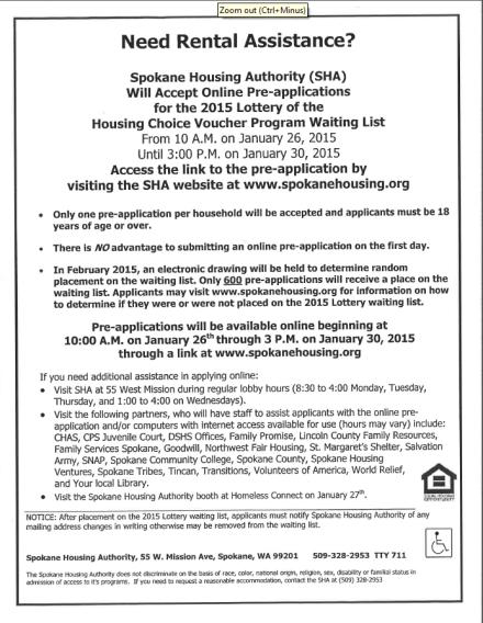 Housing voucher lottery