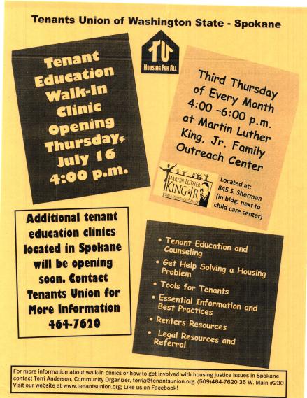 Tenant Clinic July 16 2015