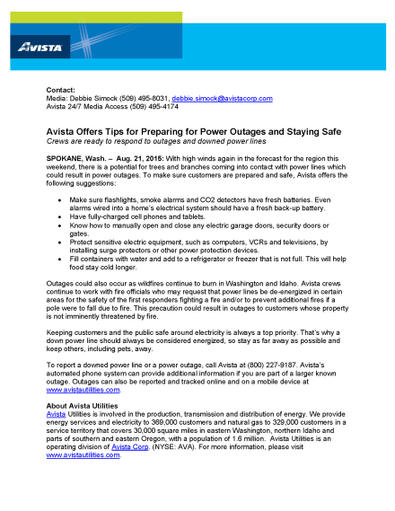 08 21 Avista Offers Tips for Preparing for Power Outages and Staying Safe
